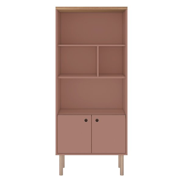 Manhattan Comfort Windsor Display Bookcase Cabinet - 26.77-in - Pink/Natural Brown