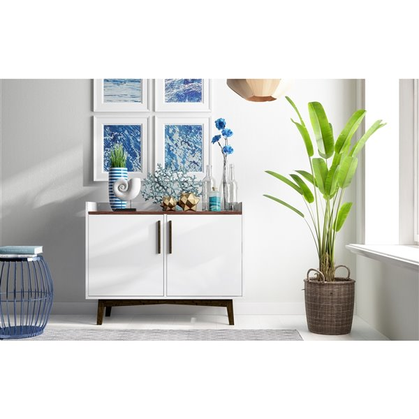 """Brookdale 35.43"""" Sideboard in White and Nut Brown"""