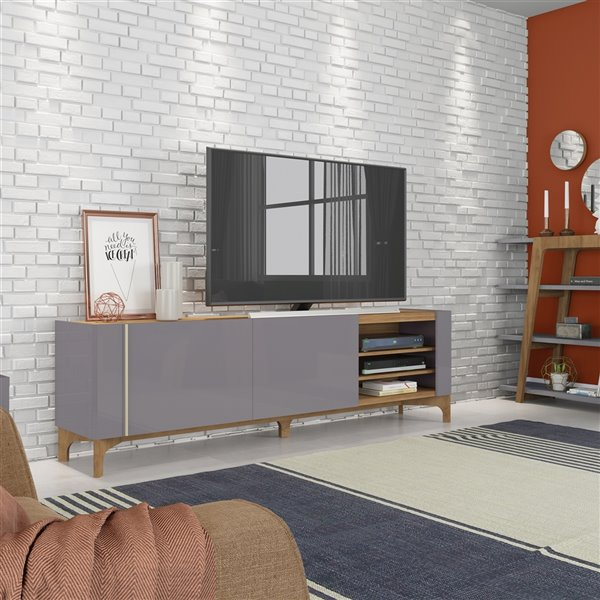 Manhattan Comfort Gowanus TV Stand - 79.92-in - Grey