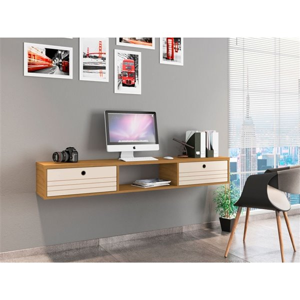 Manhattan Comfort Liberty Floating Office Desk - 62.99-in - Cinnamon Brown/Off-White
