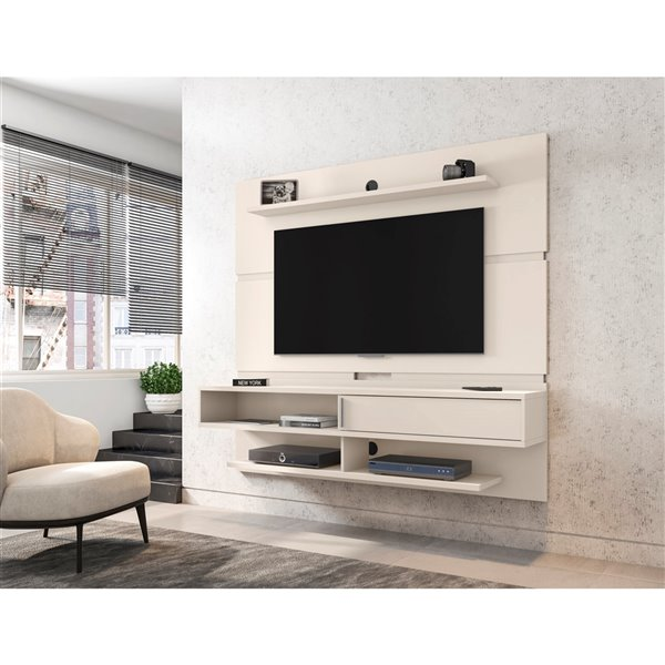 Manhattan Comfort Astor Wall-Mount Entertainment Center - 70.86-in - Off-White