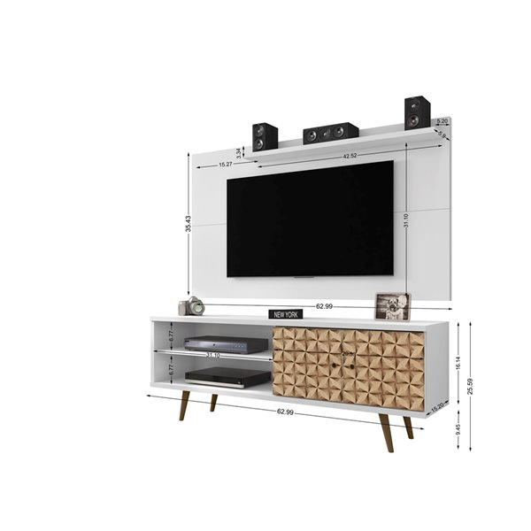 Manhattan Comfort Liberty TV Stand and Panel - 62.99-in - White and Brown