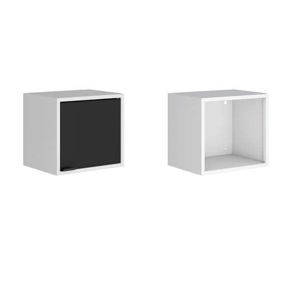 Manhattan Comfort Smart Floating Cabinet and Display Shelf - 13.77-in - White/Black - 2-Piece