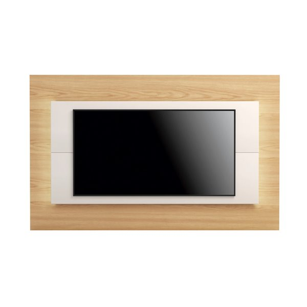 Manhattan Comfort Sylvan TV Panel - 85.43-in - Natural Wood and Off-White