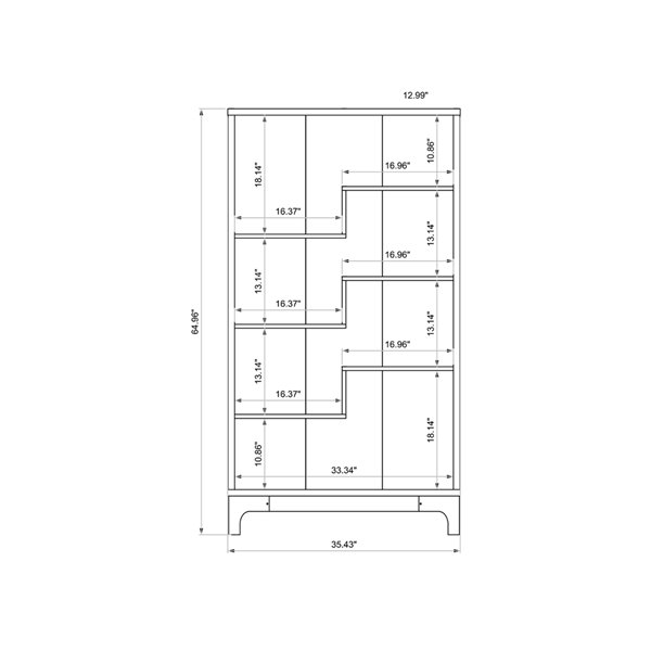 Manhattan Comfort Gowanus Bookcase - 35.43-in x 64.96-in - Off-White