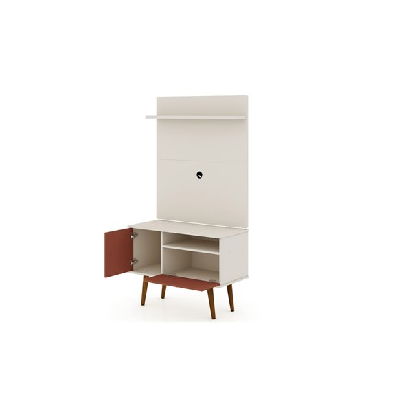 Manhattan Comfort Tribeca TV Stand and Panel - 35.43-in - Off-White and Terra Orange Pink