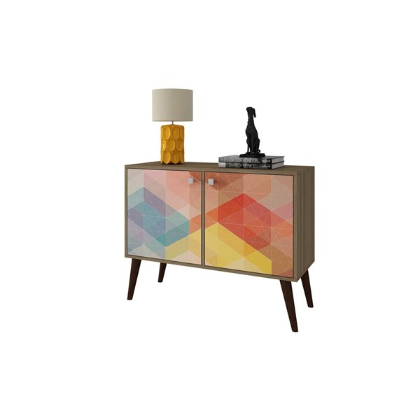 Manhattan Comfort Avesta Rectangular End Table - 70.86-in x 27.36-in - Oak and Red