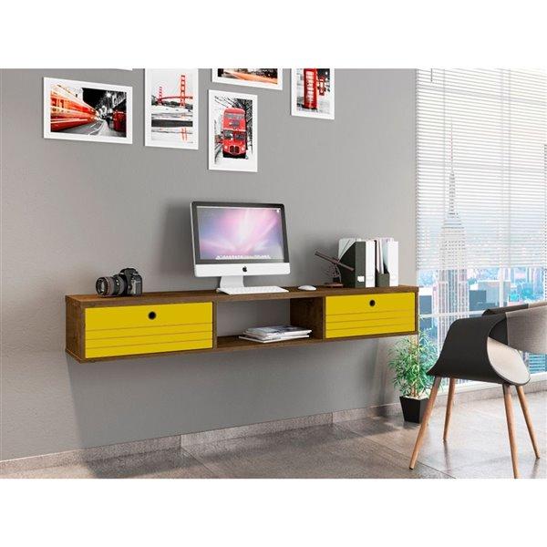 Manhattan Comfort Liberty Floating Office Desk - 62.99-in - Rustic Brown/Yellow