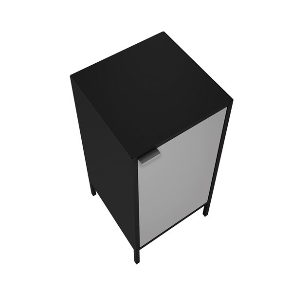 Manhattan Comfort Smart Square End Table - 13.77-in x 29.92-in - Black and Grey