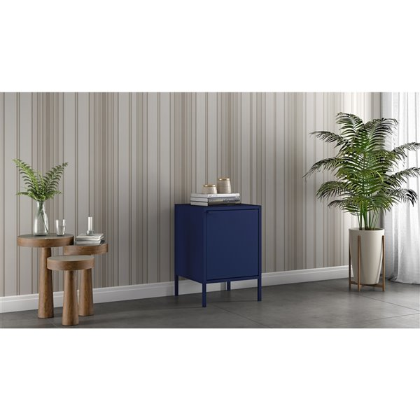 Manhattan Comfort Smart Square End Table - 13.77-in x 20.07-in - Blue