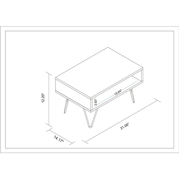 Manhattan Comfort Nolita Coffee Table - 21.06-in x 12.2-in - White
