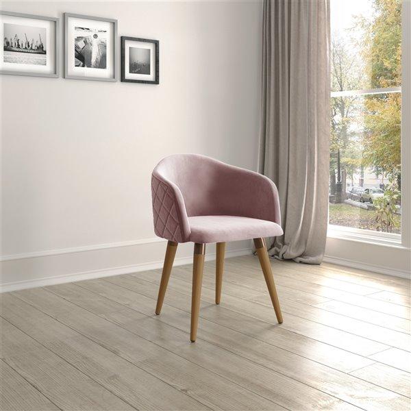 Manhattan Comfort Kari Dining Accent Chair - Rose Pink