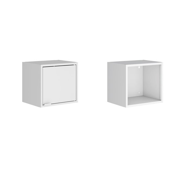Manhattan Comfort Smart Floating Cabinet and Display Shelf - 13.77-in - White - 2-Piece