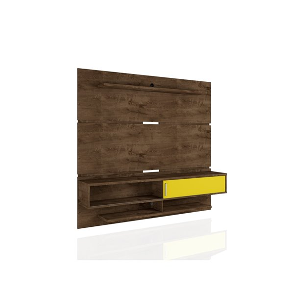 Manhattan Comfort Astor Wall-Mount Entertainment Center- 70.86-in - Rustic Brown and Yellow