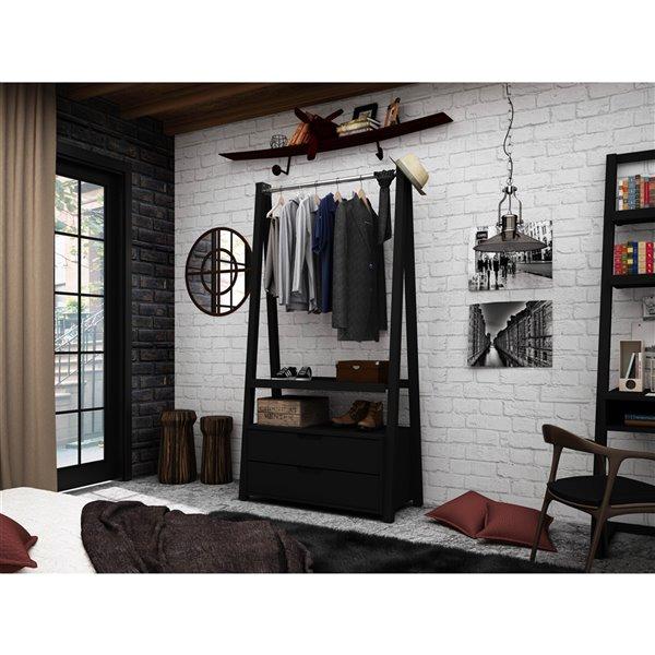 Manhattan Comfort Rockefeller Open Wardrobe Armoire - 38.62-in x 71.42-in - Black