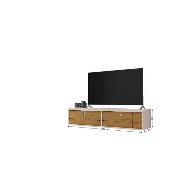 Manhattan Comfort Liberty Entertainment Center- 42.28-in - Off-White and Cinnamon Brown