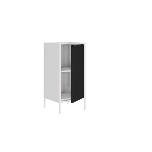 Manhattan Comfort Smart Square End Table - 13.77-in x 29.92-in - White and Black