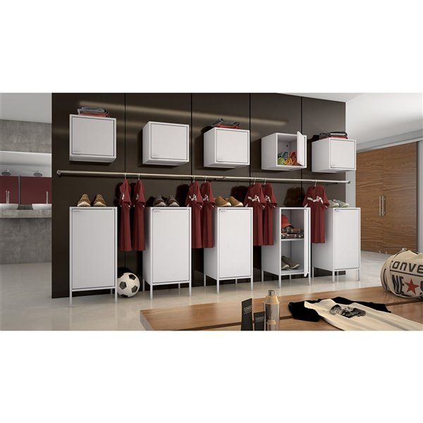 Manhattan Comfort Smart Floating Cube Cabinet - 13.77-in - White