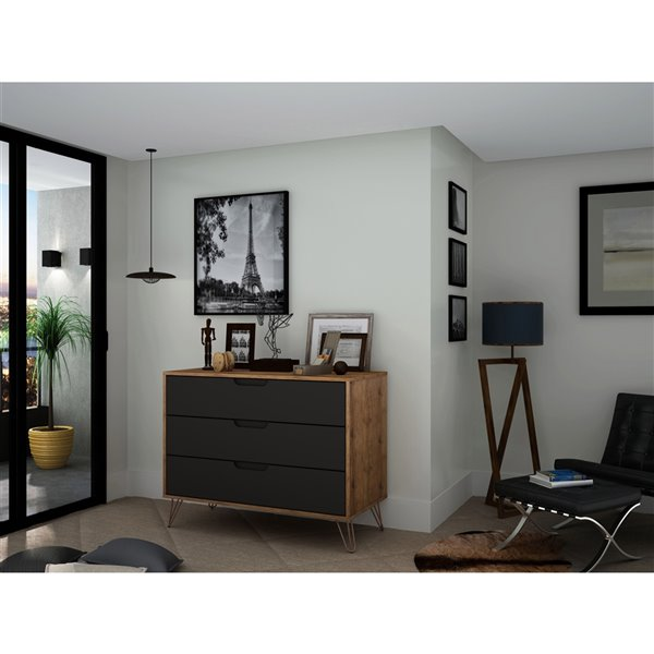 Manhattan Comfort Rockefeller Dresser - 35.24-in x 28.86-in - Natural Brown/Grey