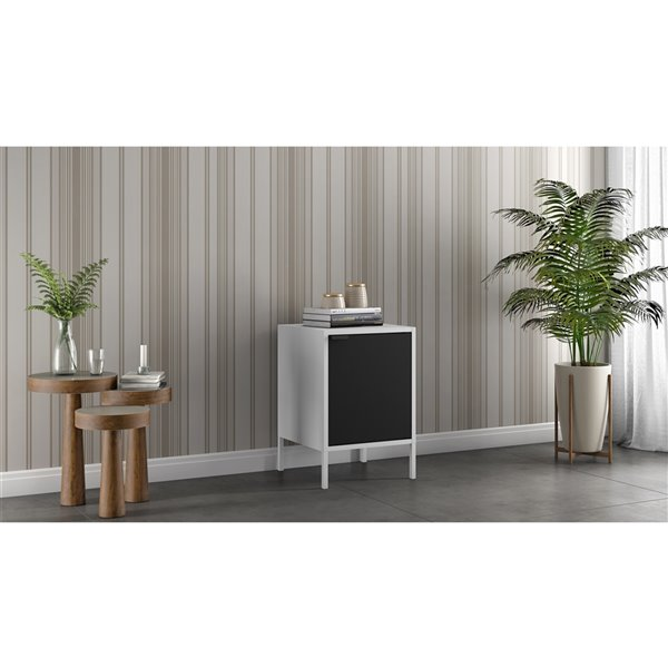 Manhattan Comfort Smart Square End Table - 13.77-in x 20.07-in - White and Black