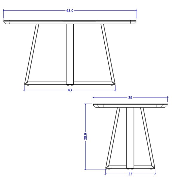 Manhattan Comfort Duffy Rectangle Dining Table - 62.99-in - Off-White
