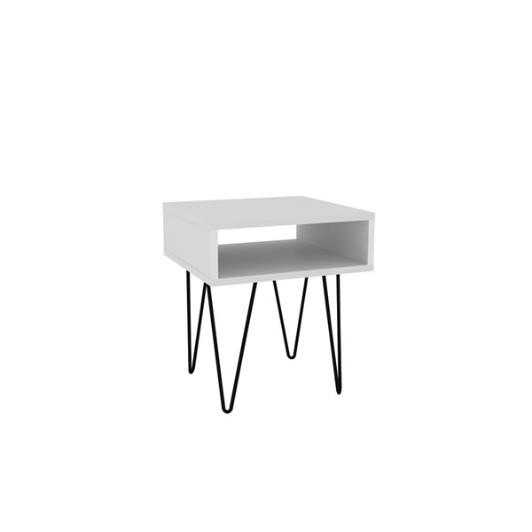 Manhattan Comfort Nolita Rectangular End Table - 14.96-in x 16.93-in - White