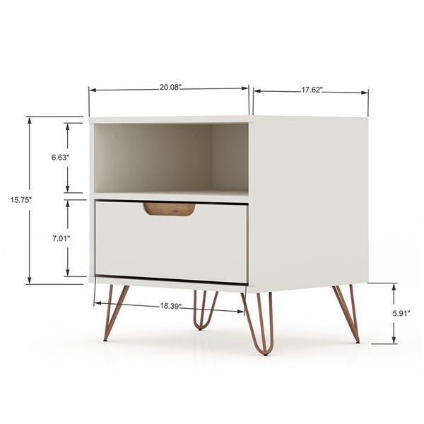 Manhattan Comfort Rockefeller 1.0 Nightstand - 21.65-in - Off-White and Natural