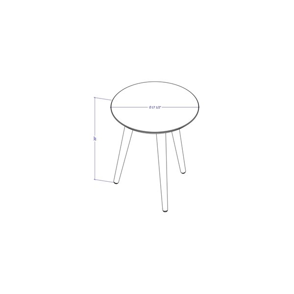 Manhattan Comfort Moore Round End Table - 17.32-in x 20.07-in - Off-White