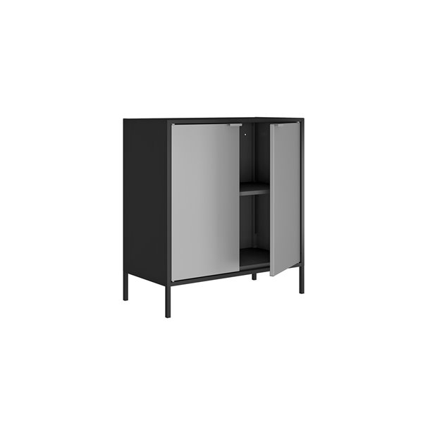 Manhattan Comfort Smart Office Cabinet 27.55-in x 29.92-in - Black and Grey