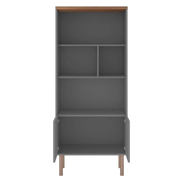Manhattan Comfort Windsor Display Bookcase Cabinet - 26.77-in - Grey/Natural