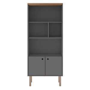 Manhattan Comfort Windsor Display Bookcase Cabinet - 26.77-in - Grey/Natural