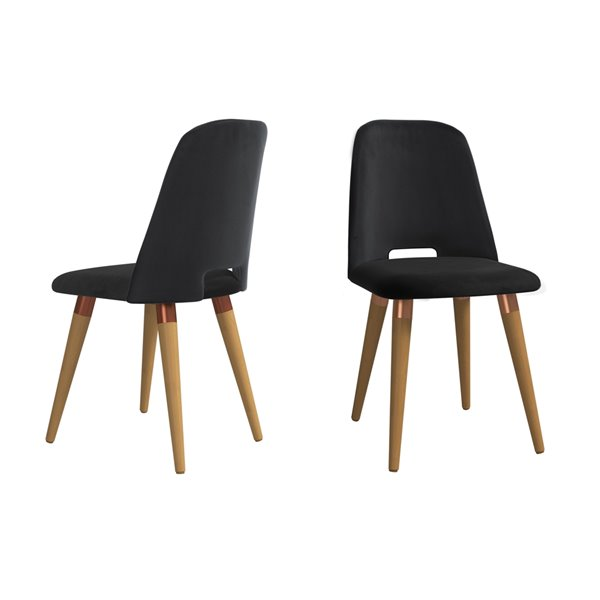 Manhattan Comfort Selina Dining Accent Chair - Black - Set of 2