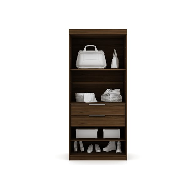 Manhattan Comfort Mulberry Open Sectional Closet - 35.98-in x 81.3-in - Brown