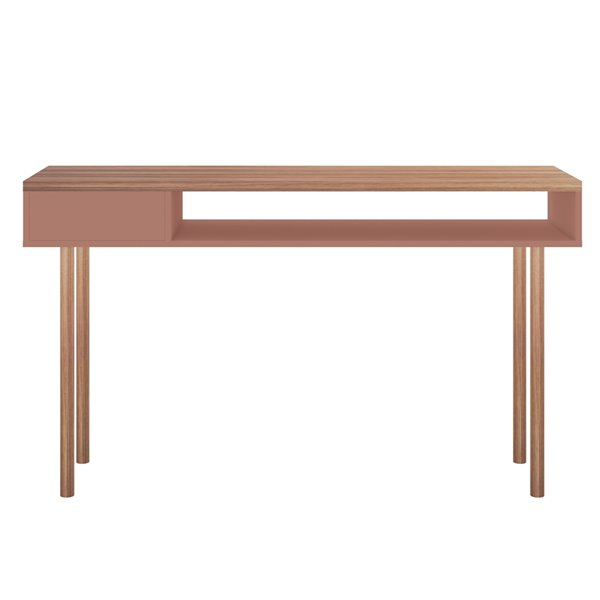 Manhattan Comfort Windsor Console Accent Table - 47.24-in - Pink/Natural Brown