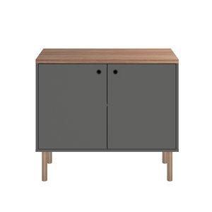 Manhattan Comfort Windsor Accent Cabinet - 35.43-in x 30.71-in - Grey/Natural Brown