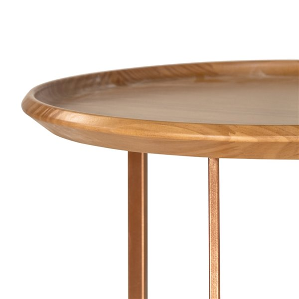 Manhattan Comfort Knickerbocker Round End Table - 19.29-in x 19.68-in - Cinnamon Brown