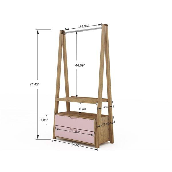 Manhattan Comfort Rockefeller Open Wardrobe Armoire - 38.62-in x 71.42-in - Natural and Pink