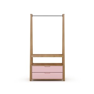 Manhattan Comfort Rockefeller Open Wardrobe Armoire - 38.62-in x 71.42-in - Natural and Pink