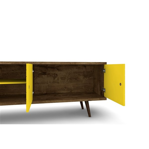 Manhattan Comfort Liberty TV Stand and Panel - 62.99-in - Rustic Brown and Yellow