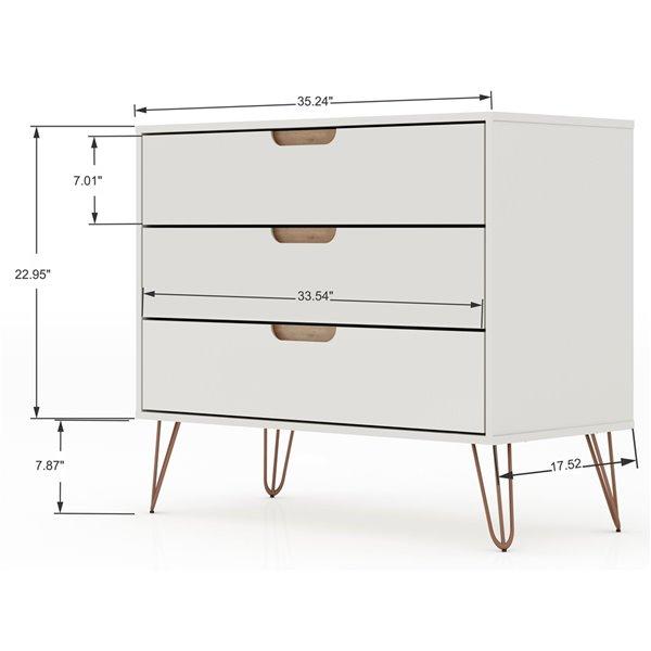 Manhattan Comfort Rockefeller Dresser - 35.24-in x 28.86-in - Off-White/Natural