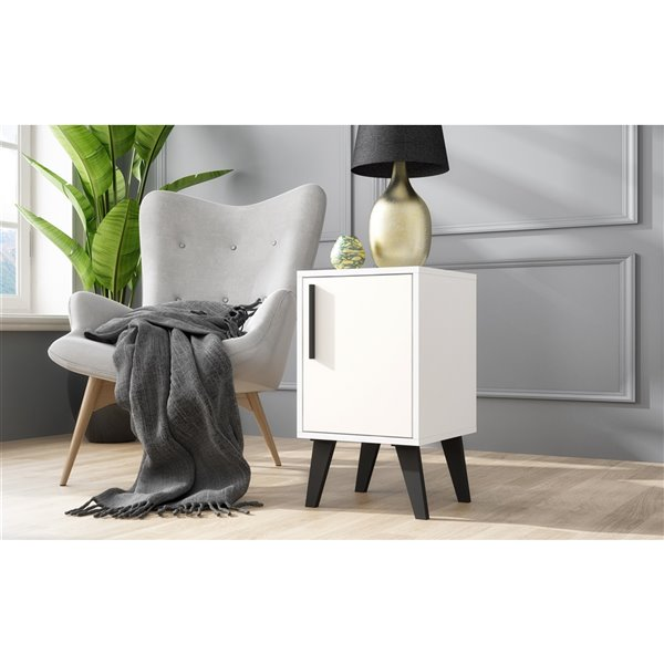 Manhattan Comfort Amsterdam Square End Table - 13-in x 23.03-in - White