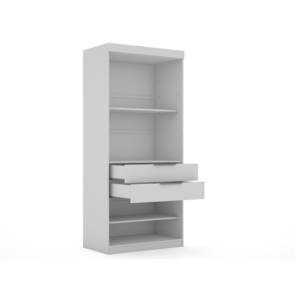 Manhattan Comfort Mulberry Open Sectional Closet - 35.98-in x 81.3-in - White