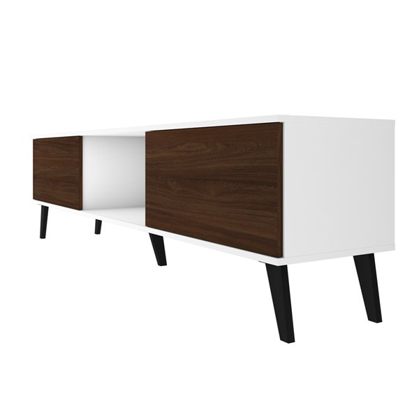 Manhattan Comfort Doyers TV Stand - 78.87-in - White and Nut Brown