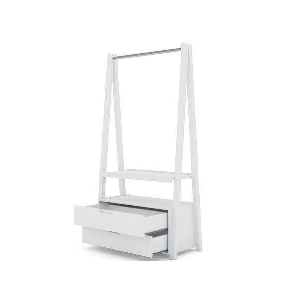 Manhattan Comfort Rockefeller Open Wardrobe Armoire - 38.62-in x 71.42-in - White