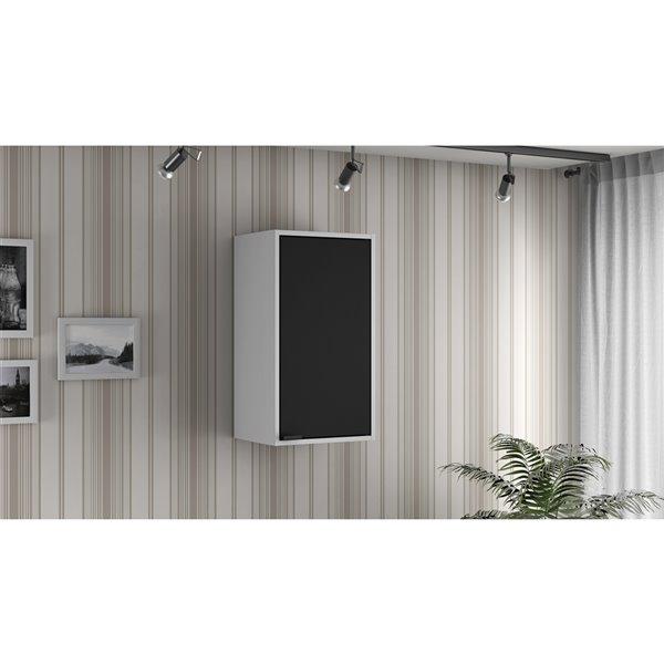 Manhattan Comfort Smart Floating Storage Cabinet - White and Black