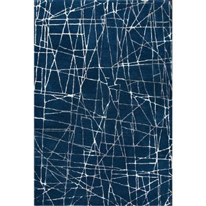 Tapis décoratif Marmor de Notre Dame Design, 7 pi x 5 pi, bleu