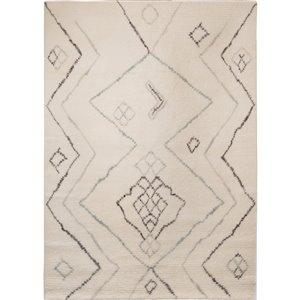 Tapis décoratif Dartmouth de Notre Dame Design, 7 pi x 5 pi, blanc cassé