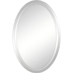 Miroir décoratif ovale Inclusion de Notre Dame design, 36 po x 24 po, argent