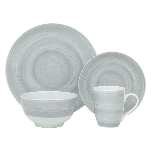 Ensemble de vaisselle en grès de Safdie & Co., gris pâle, 16 pièces