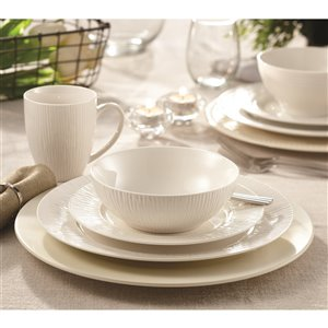 Safdie & Co. Bamboo Dinnerware Set - Porcelain - White - 16 -Piece